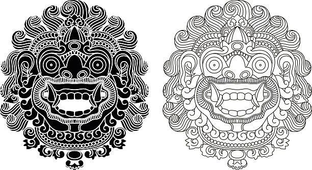 stockillustraties, clipart, cartoons en iconen met mythological god's masks. balinese style. barong. - indonesische cultuur