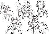 mythology set of cartoon images