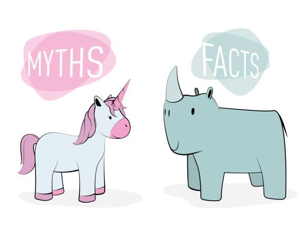 myths and facts concept: unicorn and rhinoceros - mythology stock illustrations