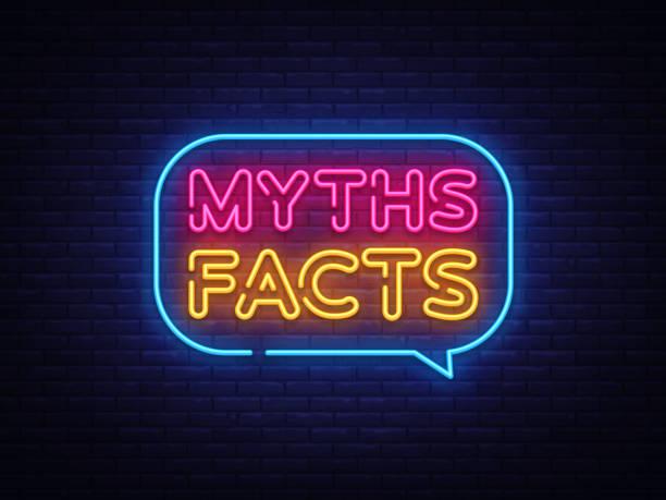 myths facts neon text vector. myths facts neon sign, design template, modern trend design, night neon signboard, night bright advertising, light banner, light art. vector illustration - mythology stock illustrations