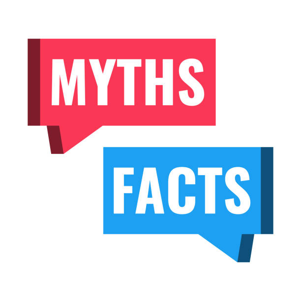 myths facts. vector illustration on white background. - mythology stock illustrations