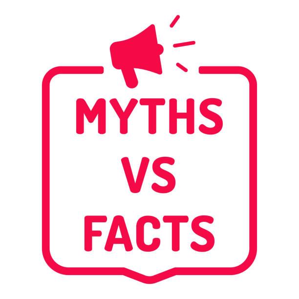 myths vs facts. badge with megaphone icon. flat vector illustration on white background. - mythology stock illustrations