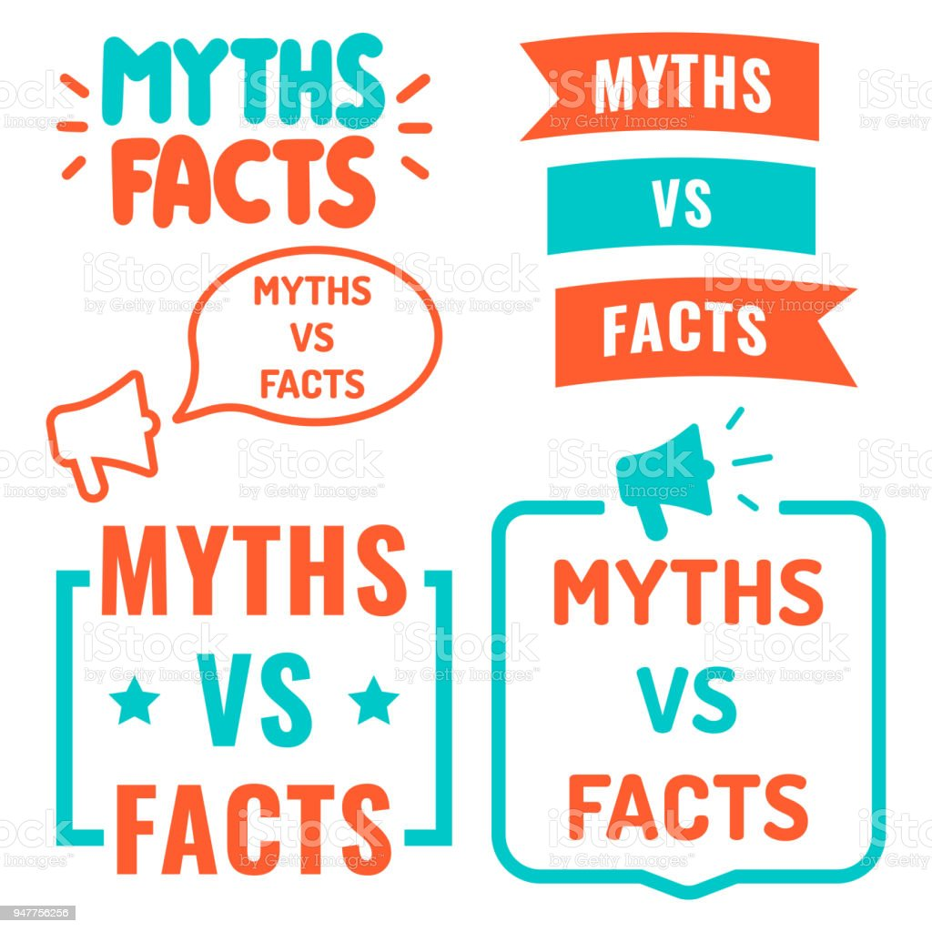 Myths vs facts. Vector illustrations on white background. vector art illustration