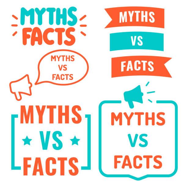 myths vs facts. vector illustrations on white background. - mythology stock illustrations