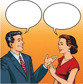 n and Woman Talking Friendly - Retro Style