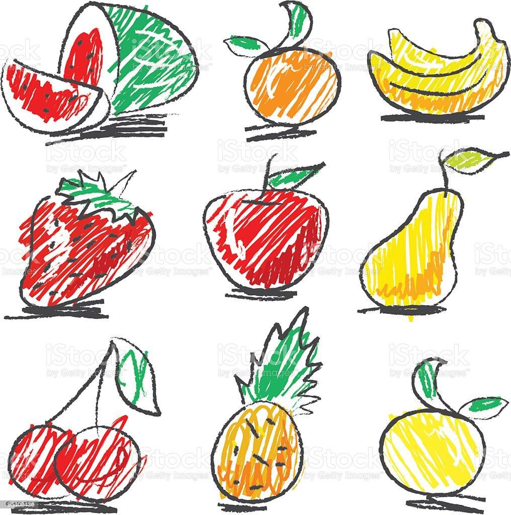 Naïf Obst Set Lizenzfreies naïf obst set stock vektor art und mehr bilder von ananas