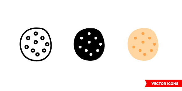 Naan icon of 3 types color, black and white, outline. Isolated vector sign symbol