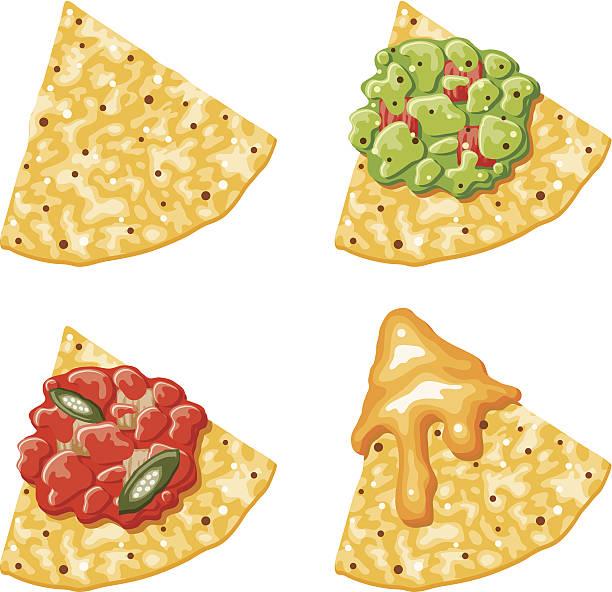 nacho mais-chips-icons mit beilagen - tortillas stock-grafiken, -clipart, -cartoons und -symbole