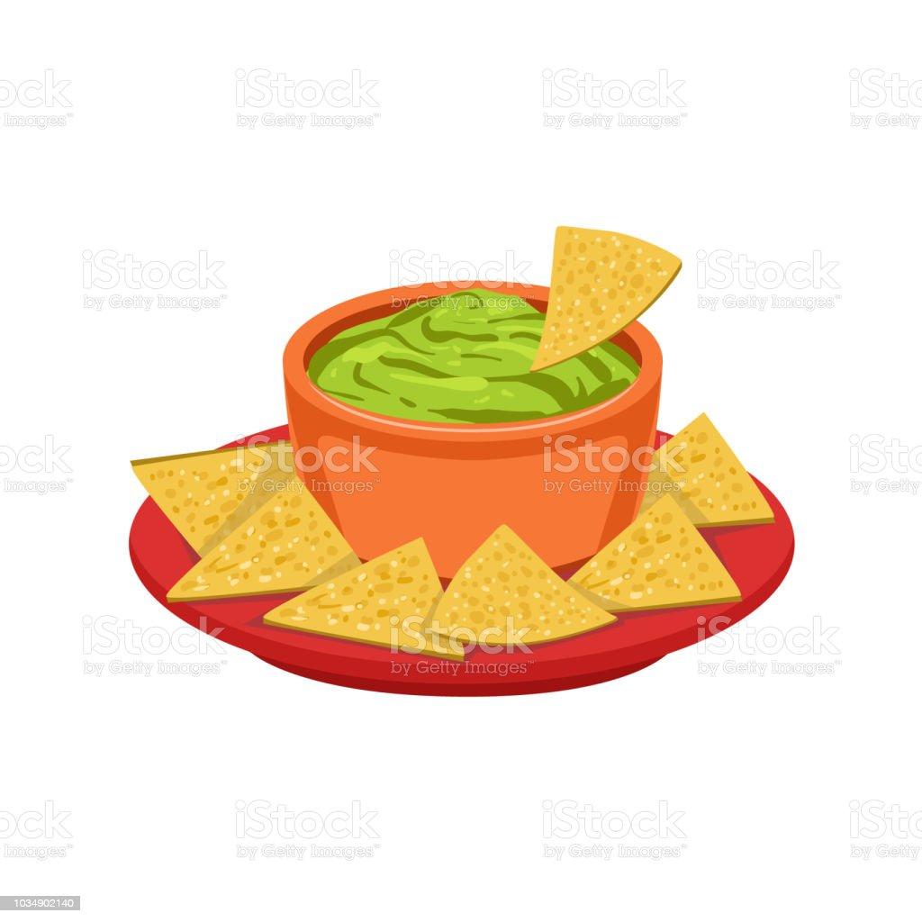 Nachos Chips mit Guacamole traditionelle mexikanische Küche Teller Food-Artikel von Cafe-Menü-Vektor-Illustration – Vektorgrafik