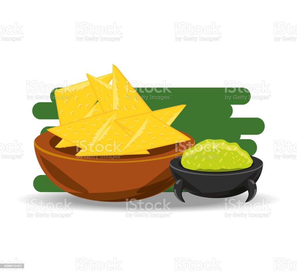 Nachos Mit Soße Traditionelle Mexikanische Küche Stock Vektor Art ...