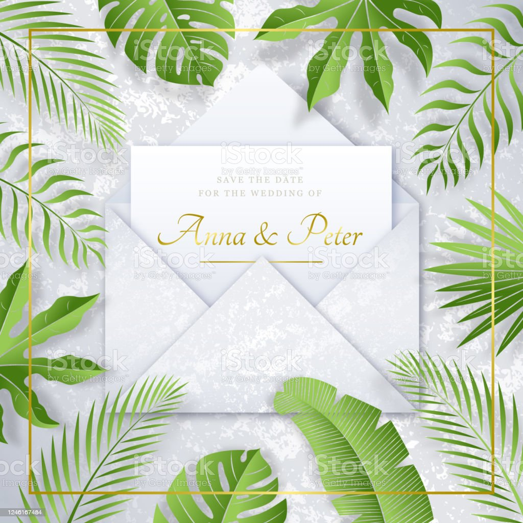 Nacre Wedding Invitation With Tropical Leaves Stock Illustration Download Image Now Istock Cute sloth jungle baby shower by mail invitation. https www istockphoto com vector nacre wedding invitation with tropical leaves gm1246167484 363154987
