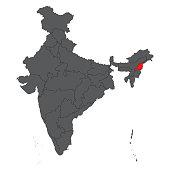 Nagaland red on gray India map vector