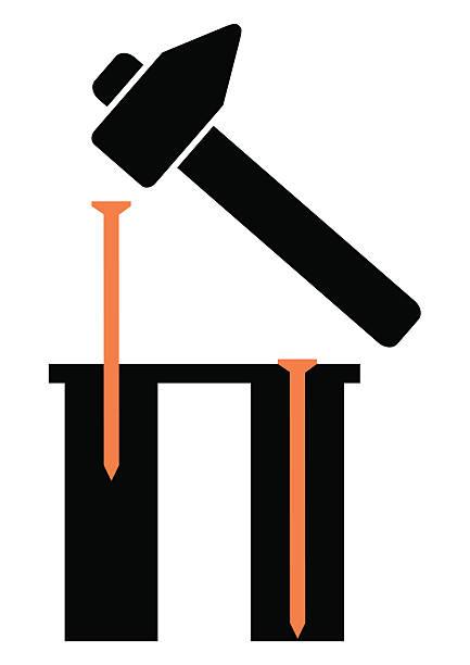 nagel und hammer - nagelspitze stock-grafiken, -clipart, -cartoons und -symbole