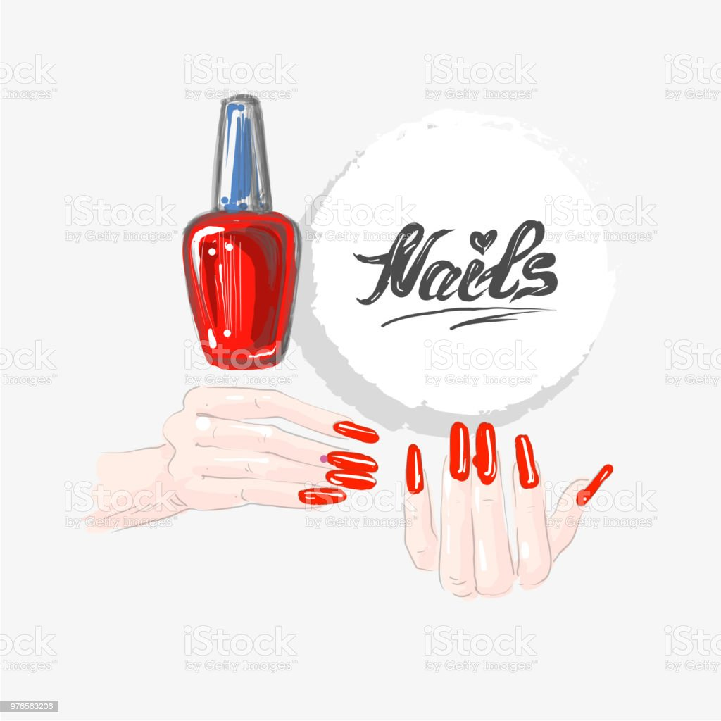 Nail Art And Red Nail Polish Beautiful Female Hands With Red Nails ...