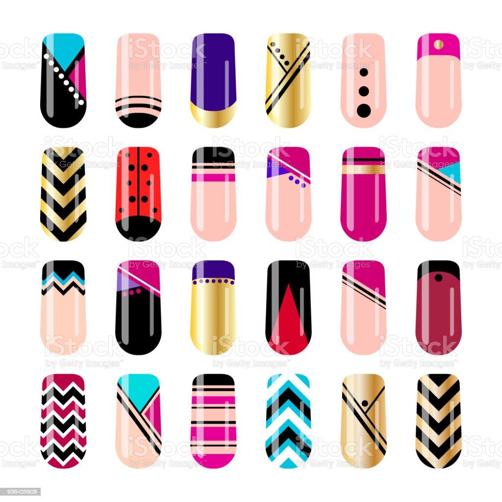 Nail Art Vector: Nail Art Design Geometric Nail Stickers Template Stock