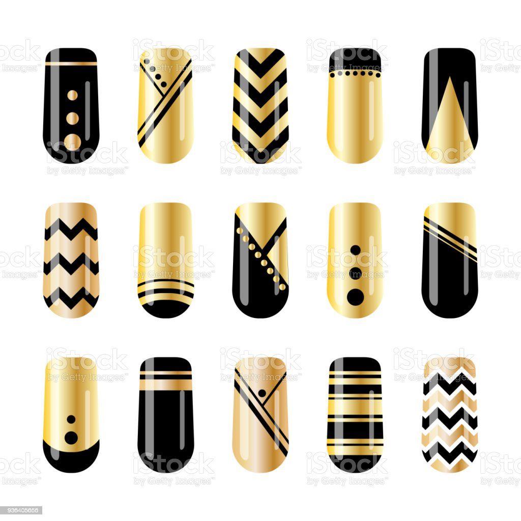 Nail Art Gold And Black Nail Stickers Design Stock Vector Art More