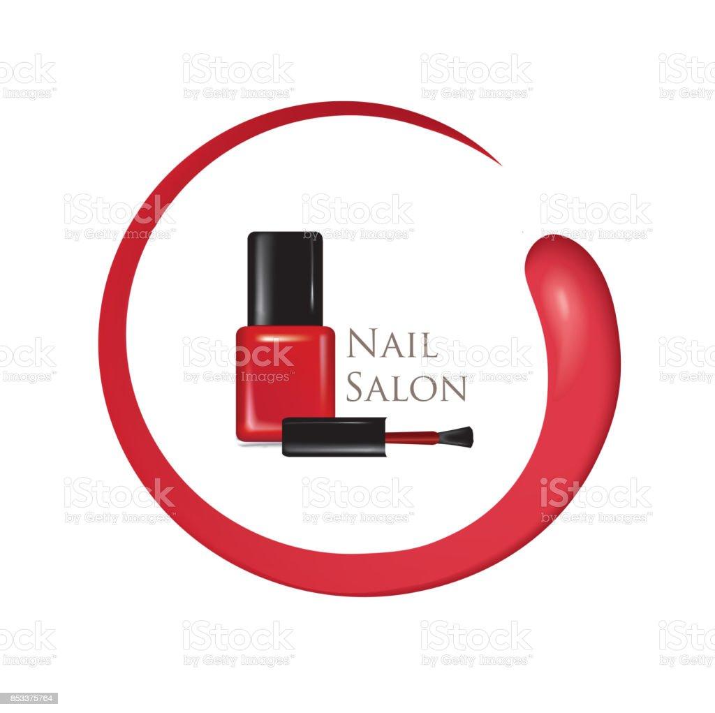 Nail beauty salon background. Manicure nail polish bottle sign. vector art illustration