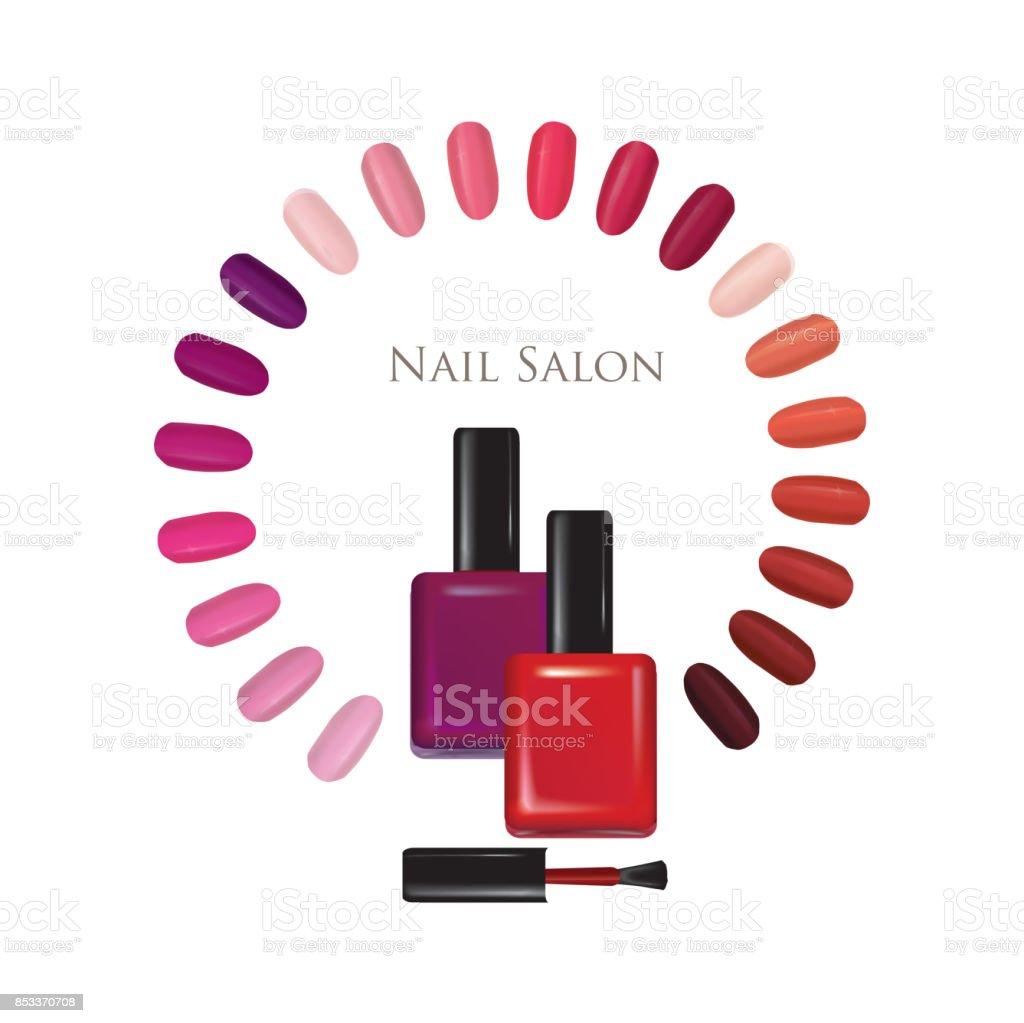 Nail beauty salon background. Manicure nails polished sign set. vector art illustration