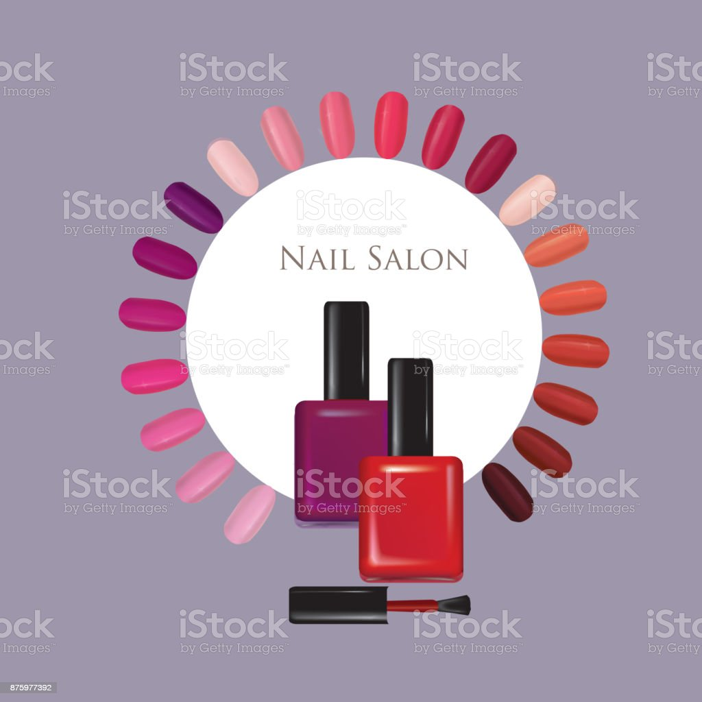 Nail beauty salon background. Manicure nails polished sign. vector art illustration