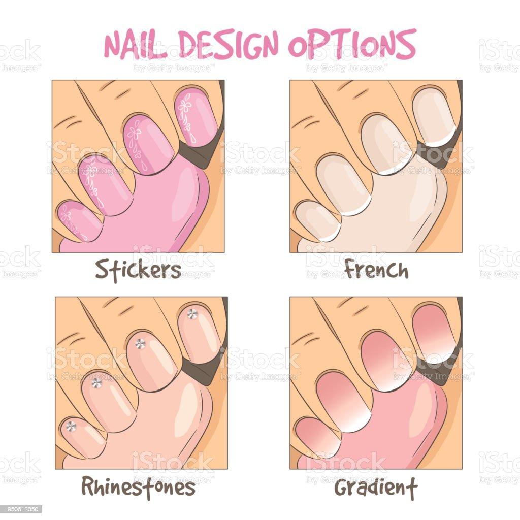 Ilustración de Opciones De Diseño De Uñas Manicura Francesa ...