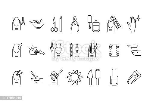 Nail Manicure Sign Black Thin Line Icon Set Include of Hand, Scissors and Cutter. Vector illustration of Icons