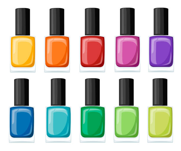 Nail polish assortment of beautiful bright colors. Collection for manicure. Flat vector illustration isolated on white background Nail polish assortment of beautiful bright colors. Collection for manicure. Flat vector illustration isolated on white background. white nail polish stock illustrations
