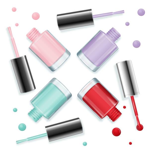nail polish background. vector - fußpflegeprodukte stock-grafiken, -clipart, -cartoons und -symbole