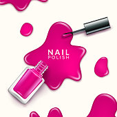 Nail polish beauty paint drop. Cosmetic bottle makeup polish nail or manicure design.