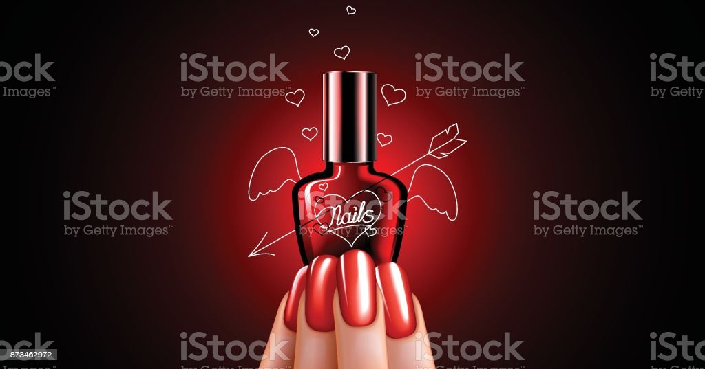nail Polish bottle in manicure hand vector art illustration