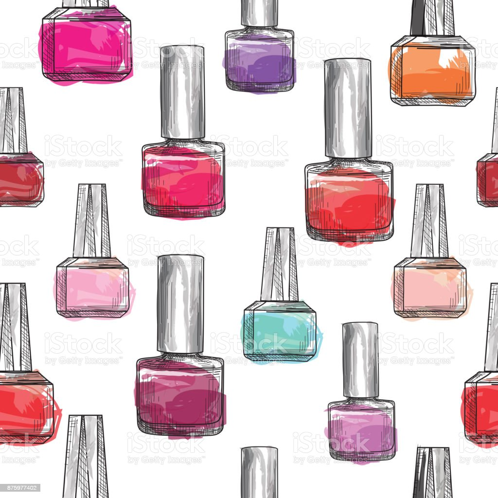 Nail Polish Bottle Pattern Beauty Salon Background Love Manicu Stock ...