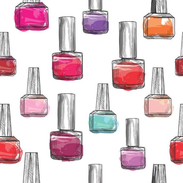 bildbanksillustrationer, clip art samt tecknat material och ikoner med nagellack flaska mönster. skönhetssalong bakgrund. älskar manicu - emalj
