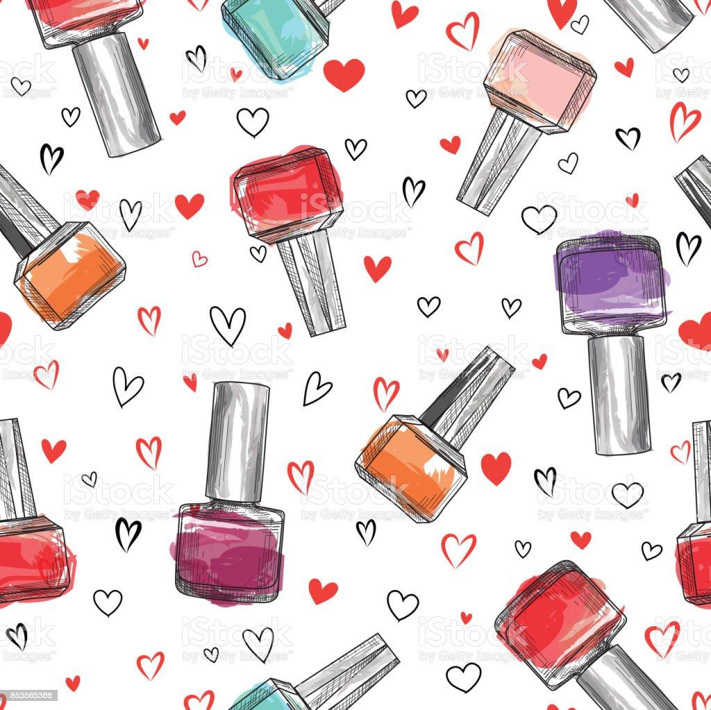 Free Download Hd Wallpapers Mondrian Nail Art Free Wallpapers: Nail Polish Bottle Seamless Pattern Beauty Salon