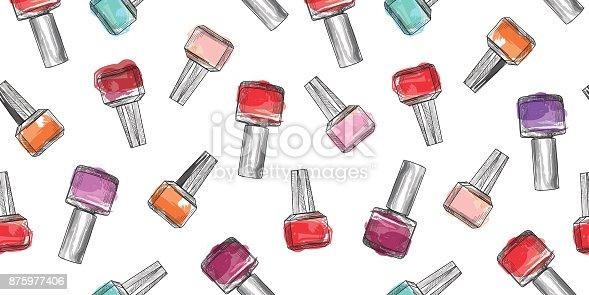 Nail polish bottle seamless pattern. Beauty salon manicure backg