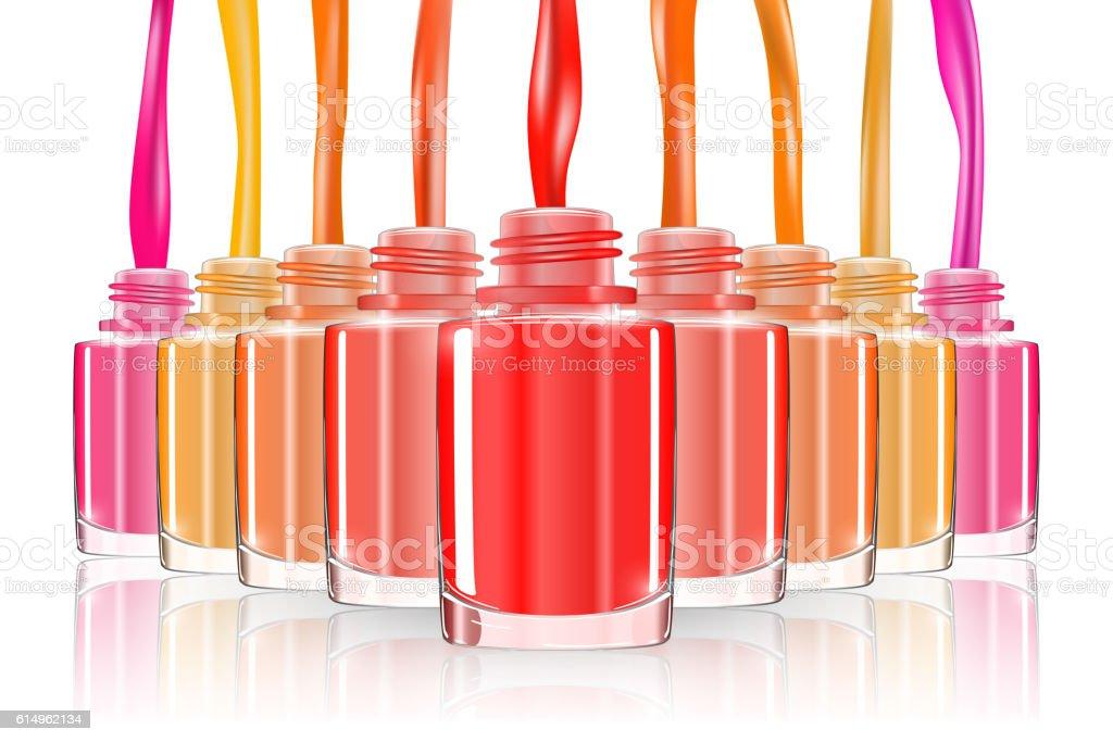 Nail polish bottle, spash. vivid bright red. 3d illusration. vector. vector art illustration