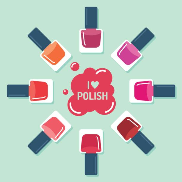 nagellack flaschen kreis auf blauem hintergrund - fußpflegeprodukte stock-grafiken, -clipart, -cartoons und -symbole