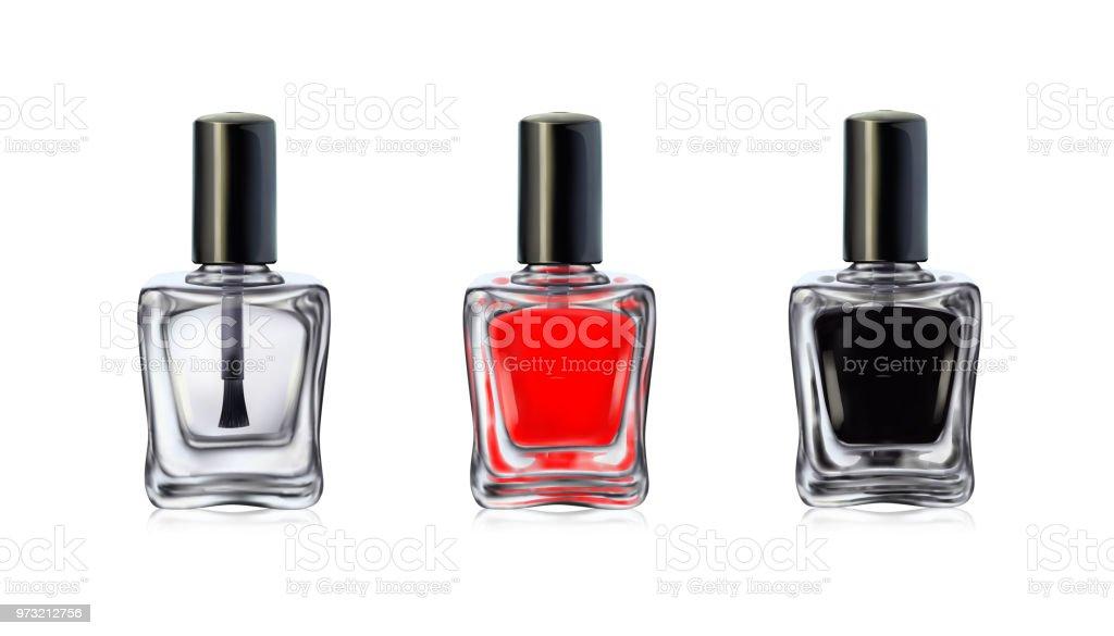Nail Polish Bottles On White Background Vector Illustration Stock ...