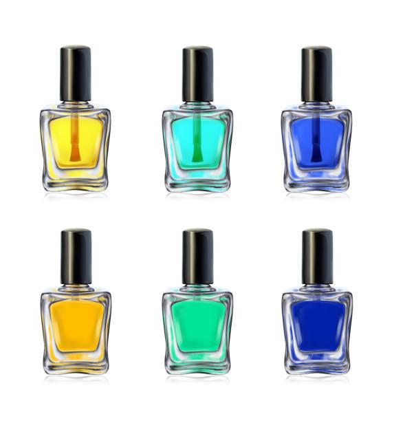 Nail polish bottles on white background vector illustration Nail polish bottles on white background vector illustration. Beauty set white nail polish stock illustrations
