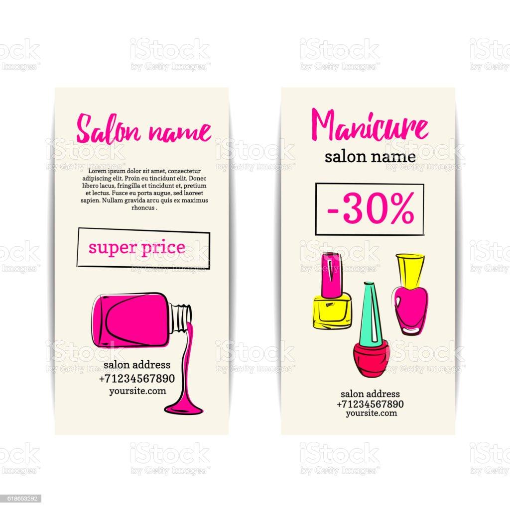 Nail polish colorful coupon flyer set vector art illustration