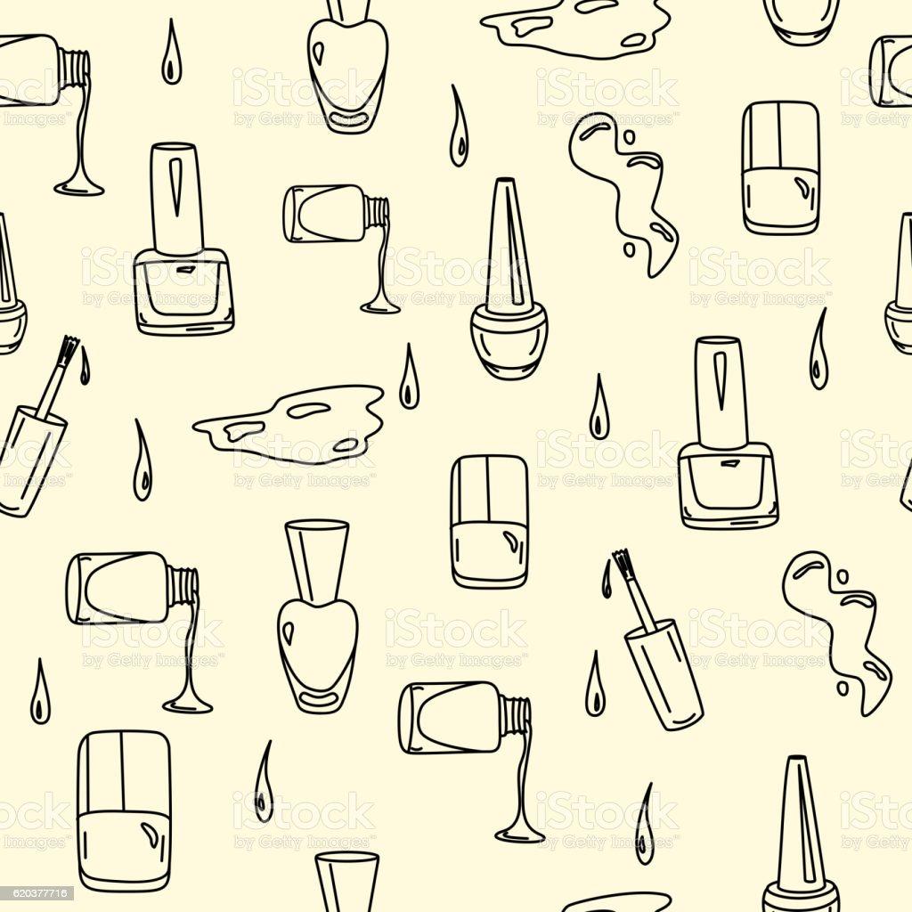 Nail polish hand drawn seamless pattern vector art illustration