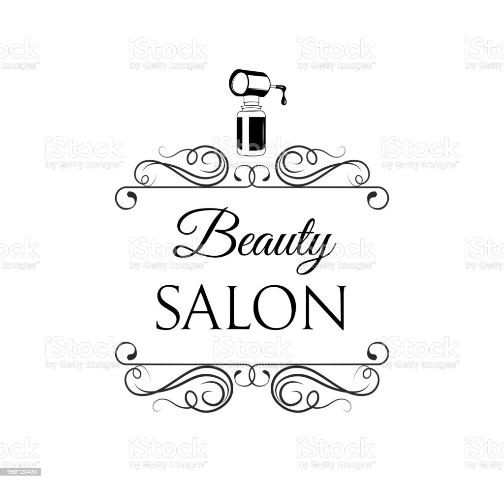 Nagellacksymbol Beautysalonlogo Label Dekoration Wirbel Kunstvollen ...