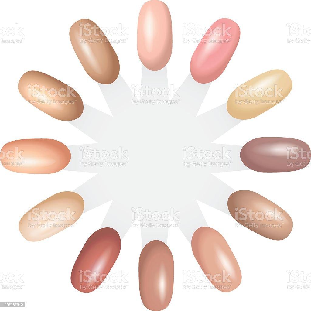 Nail Polish Nude Color Chart Tone Stacked Circle Stock Vector Art ...