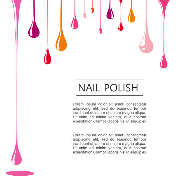 nail polish poster white template Nail polish spill. Template for advertising flyer, business card, manicure salon. Flat vector cartoon illustration. Objects isolated on white background. white nail polish stock illustrations