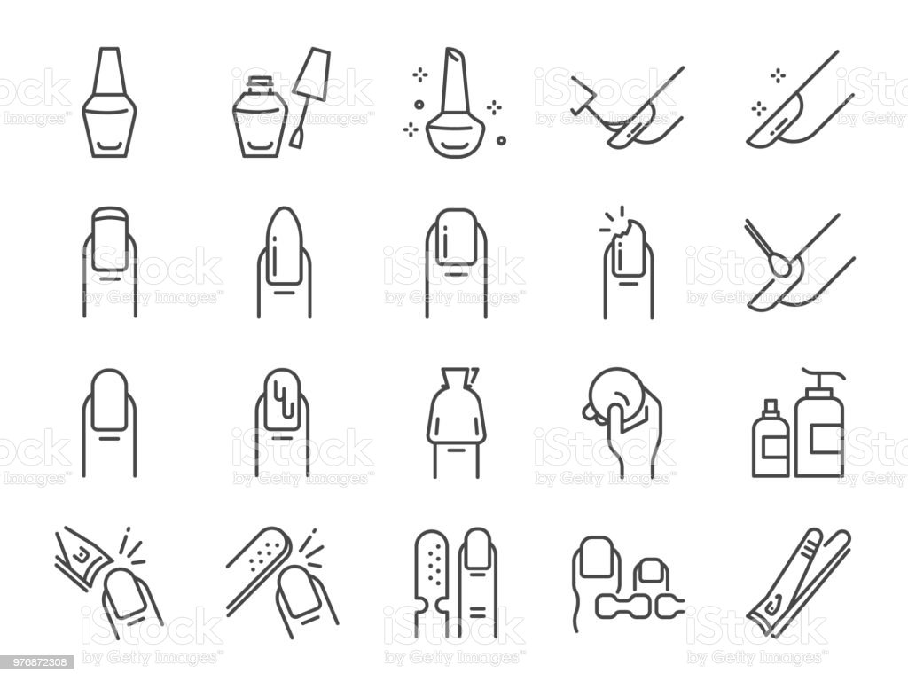 Nail polish salon icon set. Included the icons as finger, toe separator, coat, remover pad, glaze, paint, nail art and more vector art illustration
