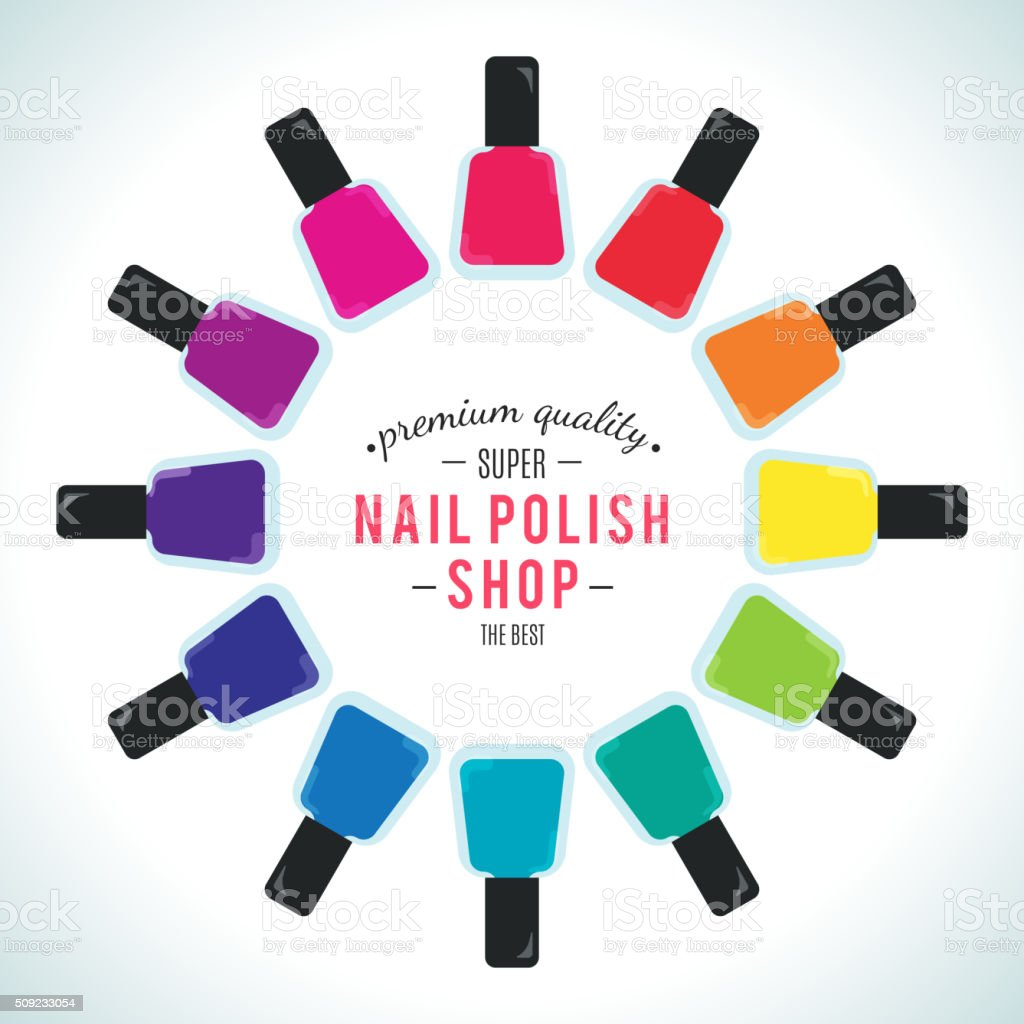 Nail polish women accessories set in a palette vector art illustration