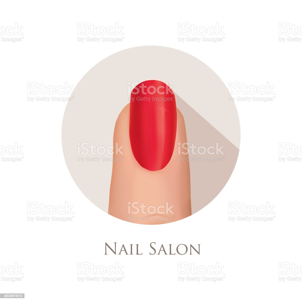 Nail polished finger sign. Nail beauty salon icon. Manicure nail vector art illustration