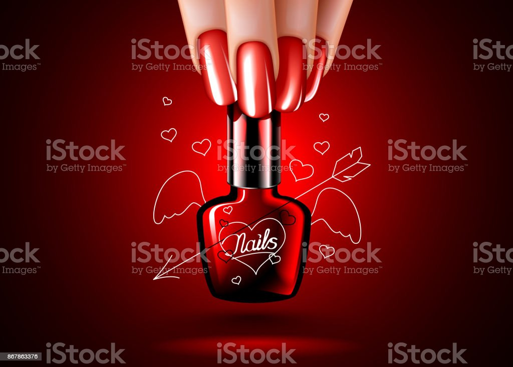 nail polishes with hearts in a woman hand. a beautiful manicure. vector art illustration