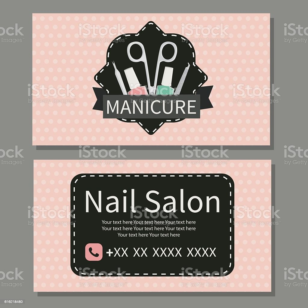 Nail Salon Cute Business Card stock vector art 616218480 | iStock