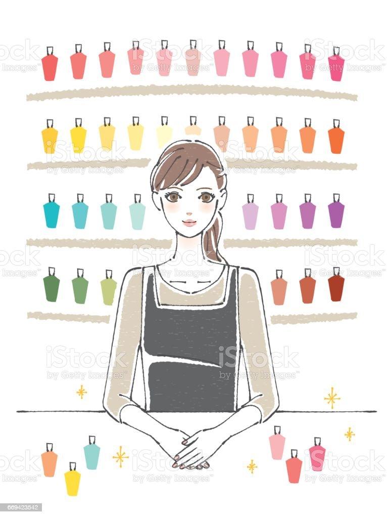 Nail salon Manicurist vector art illustration