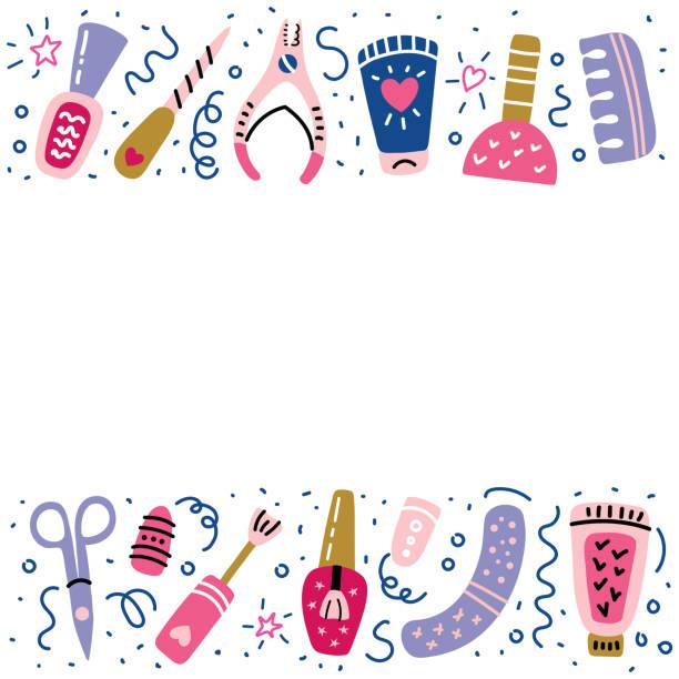 nail studio maniküre pediküre banner polnische zeichen - fußpflegeprodukte stock-grafiken, -clipart, -cartoons und -symbole