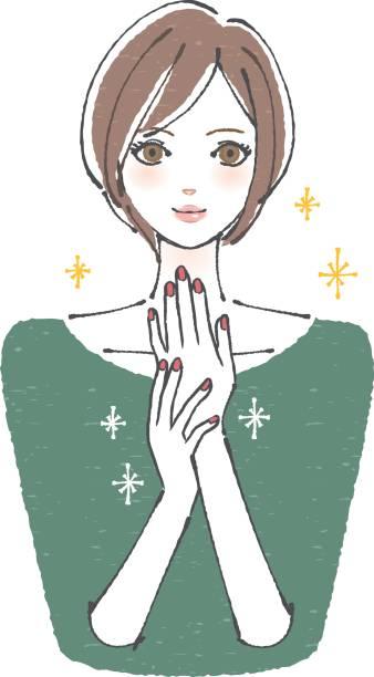釘の短い髪の女性 - ファッション/ビューティ点のイラスト素材/クリップアート素材/マンガ素材/アイコン素材
